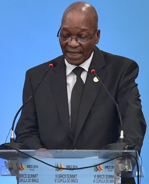 South African President Jacob Zuma delivers a speech during the 6th BRICS summit in Fortaleza, Brazil on July 15, 2014. Leaders of the BRICS (Brazil, Russia, India, China and South Africa) group of emerging powers gathered in Brazil on Tuesday to launch a new development bank and a reserve fund seen as counterweights to Western-led financial institutions.  AFP PHOTO/NELSON ALMEIDA