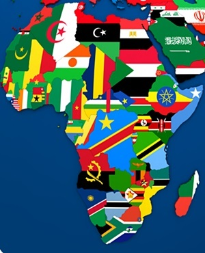 Political map of Africa with each country represented by its national flag. 3D Illustration.
